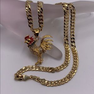 Rooster pendant in laminated gold and chain